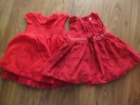 Red Party / Christmas dresses 6-9 months