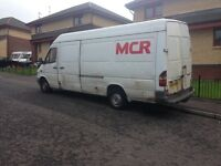 merc sprinter 311 lwb, 04 reg, 2.2 TD, mot may, 270k miles, rough but runs good £695 kilmarnock