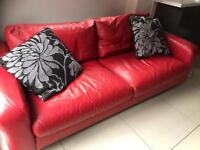 Red leather sofa 3 & 2 seater
