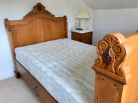 Antique Carved French Walnut 3/4 size Wall Bed (4ft wide mattress)