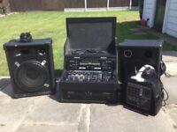 DJ equipment, speakers, amp, twin Cd mixer