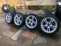 """18"""" Genuine Bmw 400m Alloy Wheels Alloys With Tyres Staggered 1 3 5 Series 403"""
