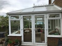 Conservatory frame, glass and roof 3m x 3.4m sold as seen