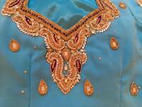 Girls turquoise sarees