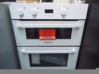 NEW GRADED WHITE HOTPOINT BUILT-UNDER DOUBLE OVEN REF: 13522