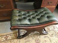 Vintage green leather chesterfield stool