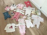 Over 100 items of mixed selection girls baby clothing