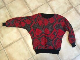 Vintage retro Christmas jumpers batwing 1980s