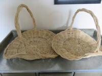 Flower baskets- Pair decorative willow flower baskets, trug style