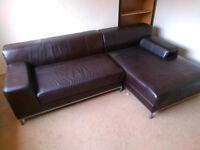 Leather Corner Sofa, Brown, Ikea