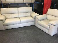 New/ExDisplay Reid Liberata Grey Leather 3 Seater Sofa + 1 Seater Sofa (movable headrest)