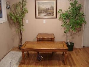Oak Coffee Table and End