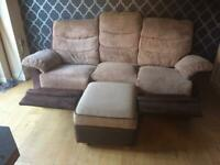 Dfs 3 seater recliner sofa and storage footstool very good condition can deliver locally