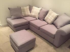 Rupert Grey Pillow Back Corner Deluxe Sofa Bed