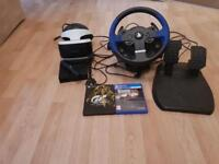 Gaming Bundle - PlayStation vr, camera included, Thrustmaster t150 wheels & pedals + 2 games