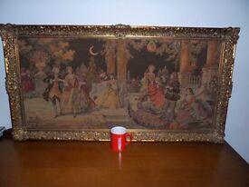 Large original Framed Italian vintage Tapestry/ wall hanging 19th century 57cm X 109cm