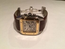 BrandNew Cartier Santos 100 gold automatic sweeping movement