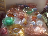 VINTAGE COLOURED GLASS/44 PIECES / DRESSING TABLE SETS/MURANO FISH & MUCH MORE