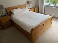 Solid Oak Double Sleigh Bed, plus Silentnight Geltex Pocket 1000 mattress