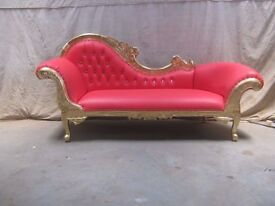 3 Piece Paris Gold leaf red gilded Chaise Longue Set Wedding Sofa Ornate Carved Lounge Furniture