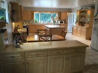 Maple Kitchen complete. Centre island unit, Dresser, all kitchen units and room separator unit.