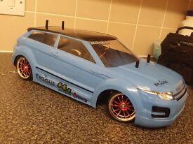 TAMIYA TT02 1/10 SCALE BRUSHLESS RC DRIFT CAR,RANGE ROVER,LIPO,FAST,2.4GHZ,TT-02,EVOQUE