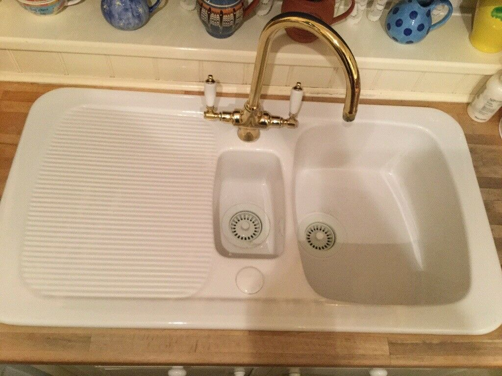 Astracast Aquitaine Gloss White Ceramic Inset Sink - 1.5 Bowl with ...