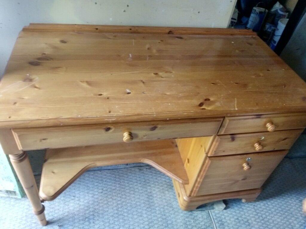 Computer Desk Solid Pine Wood