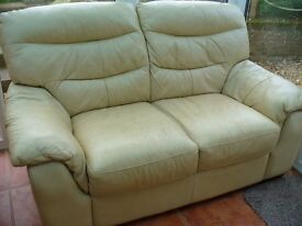 2x2 seater cream leather sofas REDUCED