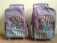 Children's Wheeled Trolley Rucksack Travel Luggage Bags - as New condition.