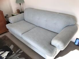 X2 DFS Duck Egg Blue Sofas. Large 3 Seater and Snuggler