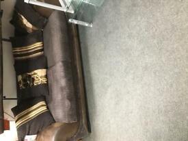 BHF - brown fabric 3 seater sofa