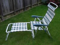 Caravan / motorhome / camping Xl size reclining folding chairs with foot rests set of 2
