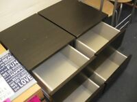 PAIR OF TWO BLACK IKEA BEDSIDE CABINETS