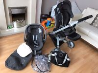Chicco I-Move stroller, car seat, carry cot plus FREE jumparoo and Free nappy disposal tub