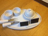 Cheese serving platter, tools and name cards. Brand New.