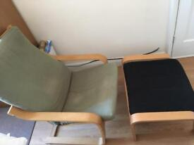 Poang chair with footstool
