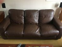 3 seater brown leather sofa First offer over £99
