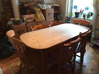 Vintage Solid Pine Farmhouse table & 6 Chairs