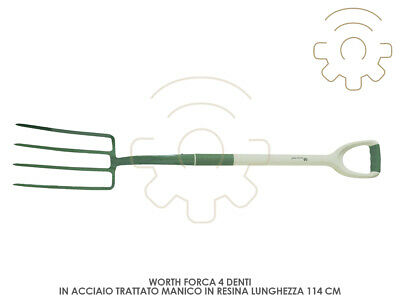Worth Pitchfork with Handle 4 Teeth Length 114 cm Steel Treated Re