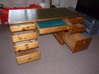 Ducal Pine Desk with green Leather top MADE IN ENGLAND!!