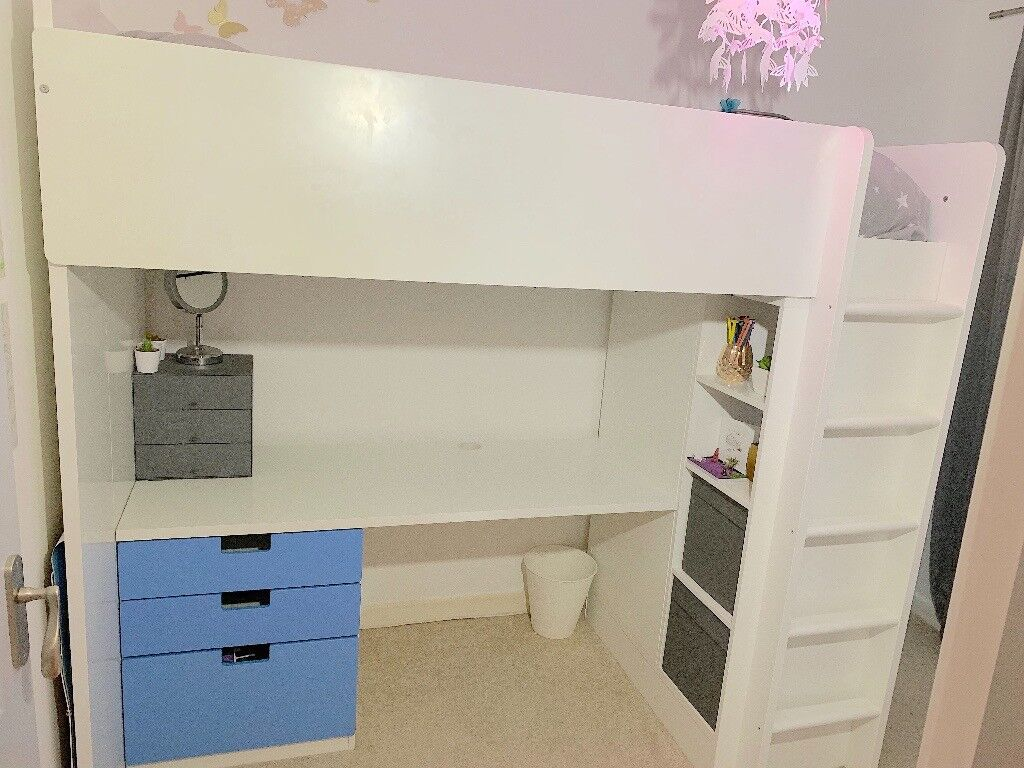 Ikea Stuva Loft Bed With Wardrobe And Desk Pocket Sprung Mattress