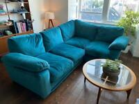 Harvey Ashmore - Teal right hand corner sofa.