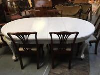 Victorian Ball and claw telescopic Dining table with French style