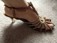 Copper,silver diamond and pearl shoes (sandal)