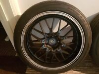 19 inch staggered alloy wheels 8.5j 9.5j, 5x120 fitment.