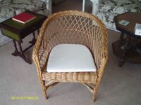 VINTAGE CANE CHAIR WITH WHITE CUSHION