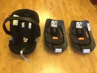 Cybex Aton baby car seat and 2 base units