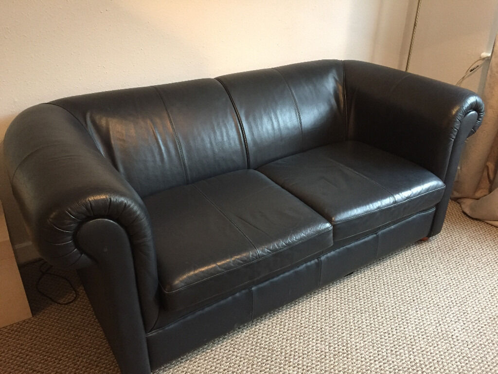 Leather Sofa 2 3 Seater Ikea Dark Blue Very Good Condition