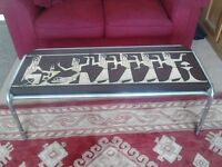 Unusual Egyptian retro coffee chrome table